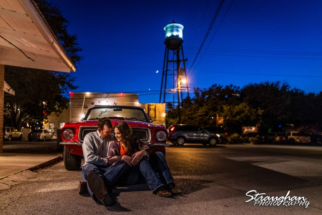 Heather and Wes's engagement session Gruene classic car
