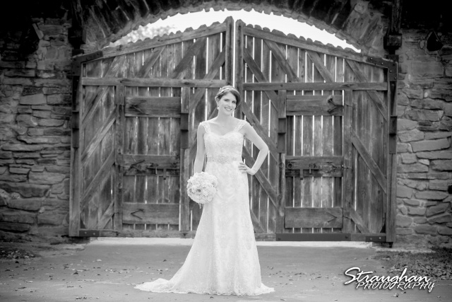Jackie's Bridal Mission San Jose bw by the gate