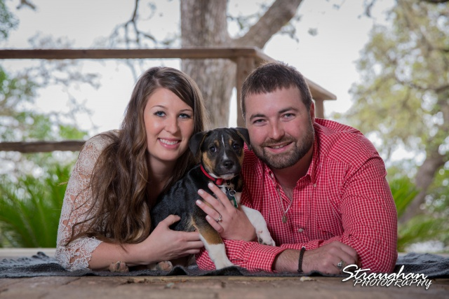 Blais and Jessica engagement Gruene with puppy on ground