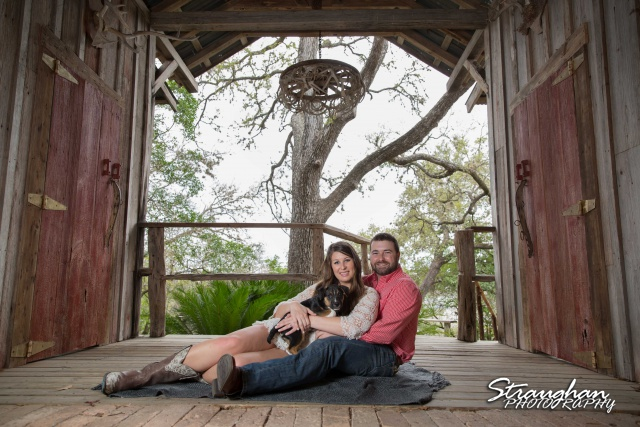 Blais and Jessica engagement Gruene breezeway with puppy