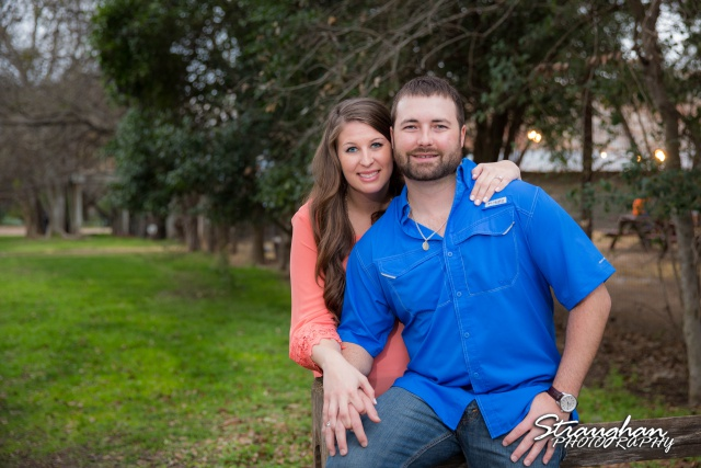 Blais and Jessica engagement Gruene on the fence