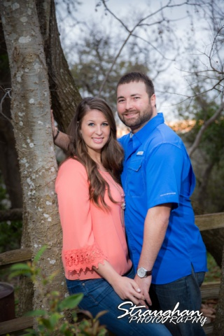 Blais and Jessica engagement Gruene by the tree at sunset