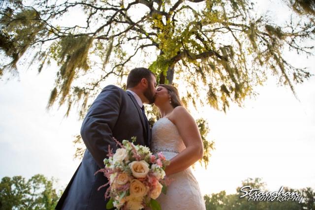 Blais_Jessica wedding the Lodge at Bridal Veil Falls kiss from below
