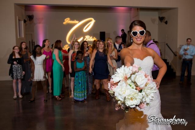 Jessica & Blais wedding the Lodge at Bridal Veil Falls bouquet toss