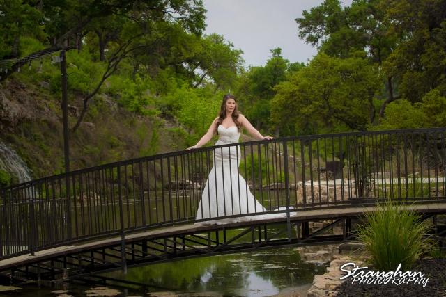 Jess Birdy Bridal the Lodge at Bridal Veil Falls on the bridge