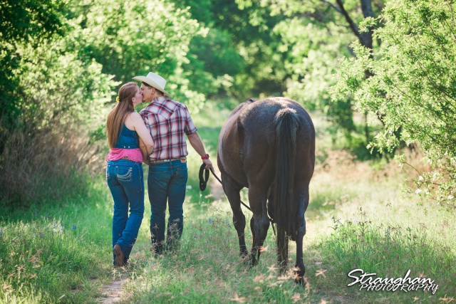 Caleb and Jamie's Engagement Poteet with horse