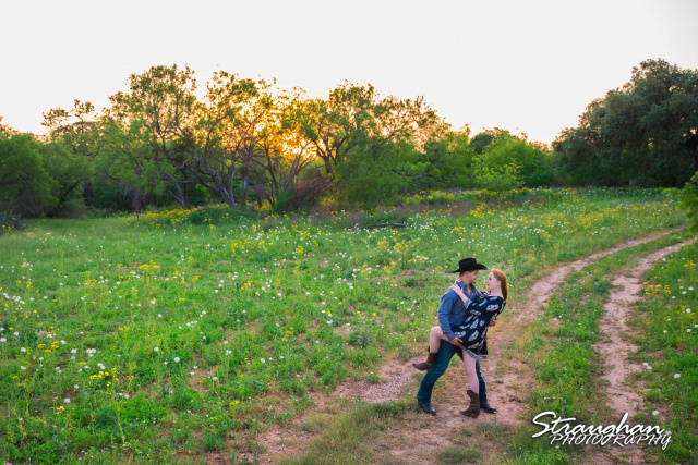 Caleb and Jamie's Engagement Poteet dip in the field