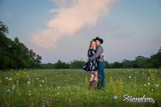 Caleb and Jamie's Engagement Poteet blue sky wind blowing