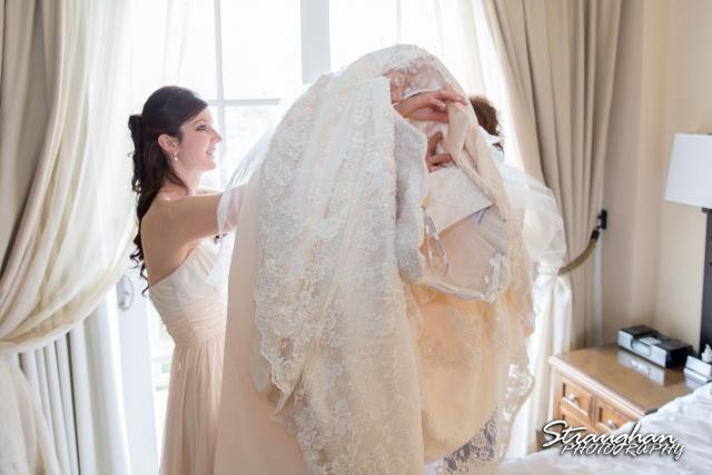Jessica wedding Hyatt Hill Country Resort dressing
