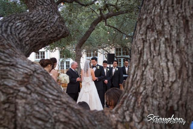 Jessica wedding Hyatt Hill Country Resort through tree