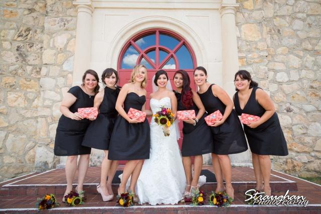 Cristina wedding St. Peters the Apostle Catholic Church Boerne bridesmaids purses