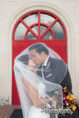 Cristina wedding St. Peters the Apostle Catholic Church Boerne couple in door