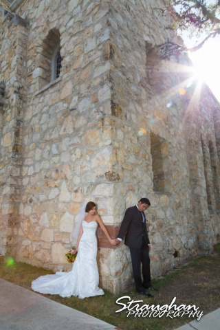 Cristina wedding St. Peters the Apostle Catholic Church Boerne couple in corner