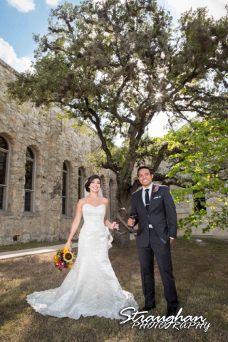 Cristina wedding St. Peters the Apostle Catholic Church Boerne in the sun