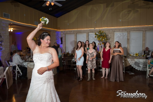 Wedding Faithville Village Devon bouquet toss