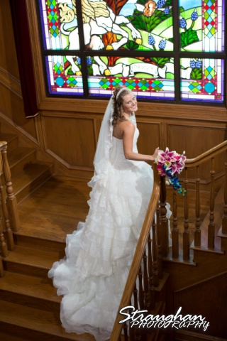 Jazmine Bridal Castle Avalon on the stairs