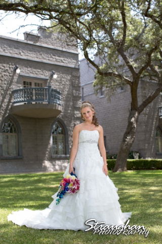 Jazmine Bridal Castle Avalon sitting on the lawn with attitude