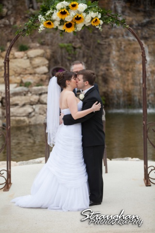 Jamie and Jack wedding Bridal Veil Falls the kiss