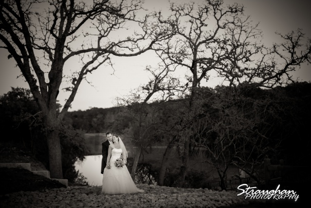 Wedding Bella Springs Jennifer the couple over the water bw