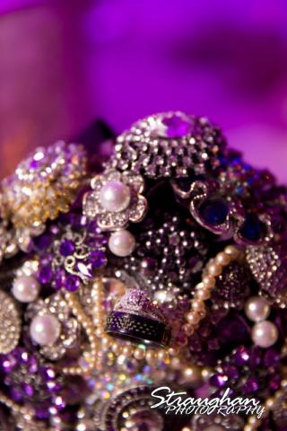 Lori  Joe wedding Sheraton Gunter rings on bouquet
