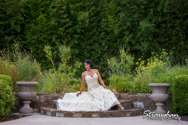 JMoore Bridal Landa Library seated in the garden