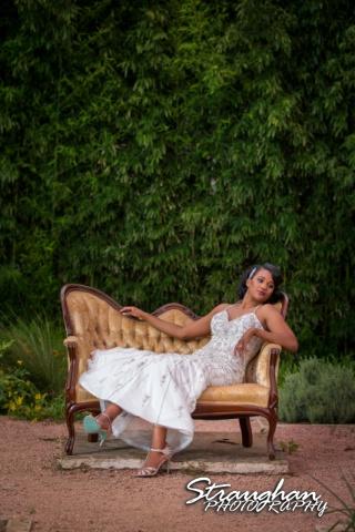 Jennifer Moore's Bridal Sitting at Landa Library laying in chair
