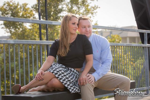 Joanna's Engagement sitting on bench