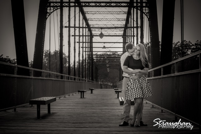 Joanna's Engagement on bridge bw