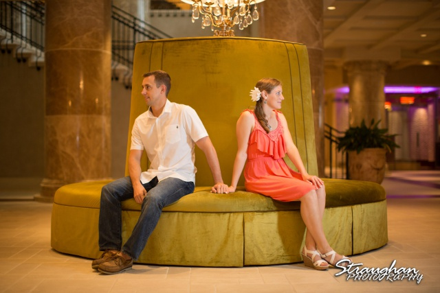 Jazmine Hotel Elian engagement green sofa portrait looking away