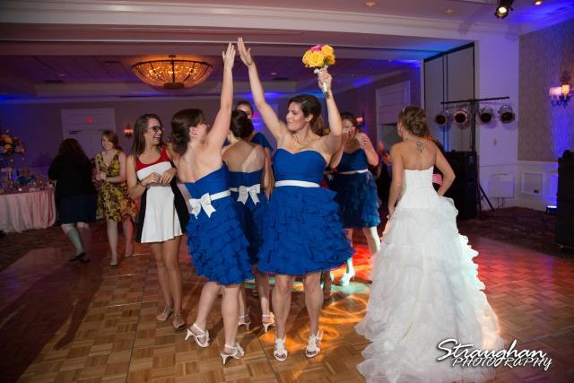 Jazmine's wedding Omni de la Mansion girls high fiving