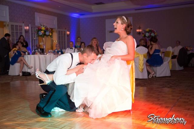 Jazmine's wedding Omni de la Mansion garter grab