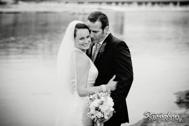 Milltown Wedding Faust Bridge kiss Katherine New Braunfels