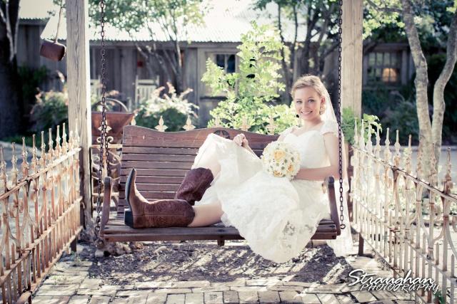 Katie bridal Gruene on the swing