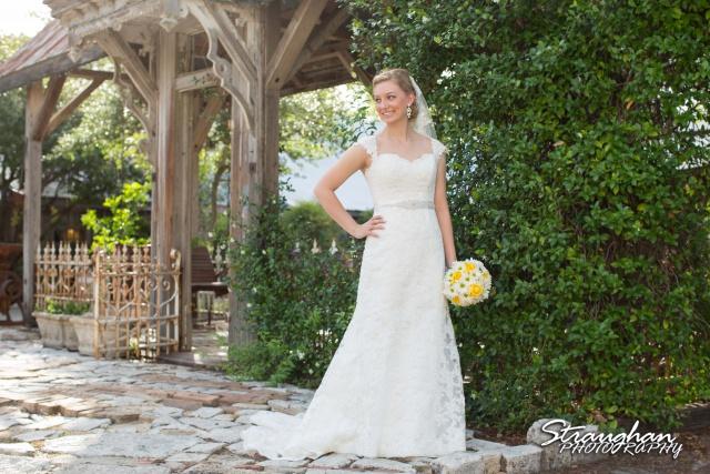 Katie bridal Gruene gazebo with sun