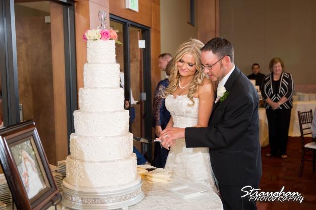 Kelley wedding St Peter's Boerne cake cutting