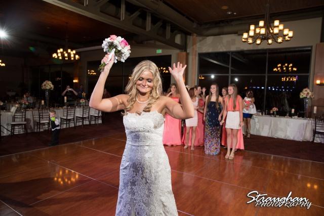 Kelley wedding St Peter's Boerne bouquet toss