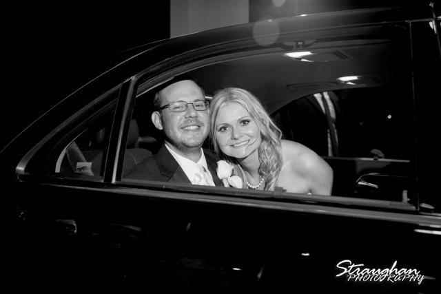 Kelley wedding St Peter's Boerne exit int he car