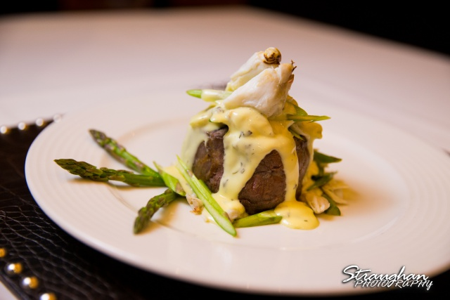 Kirby's San Antonio Steak House filet with asparagus and crab