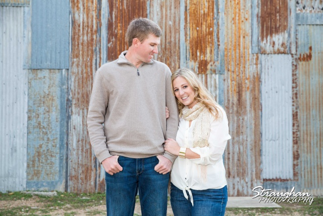 Katie's engagement in Gruene on the tin wall