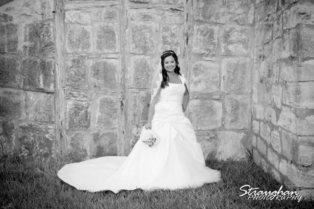 Krystle bridal The 1850 Settlement bw by the wall