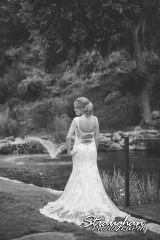 Karissa's bridal portraits the Lodge a Bridal Veil Falls end of dress