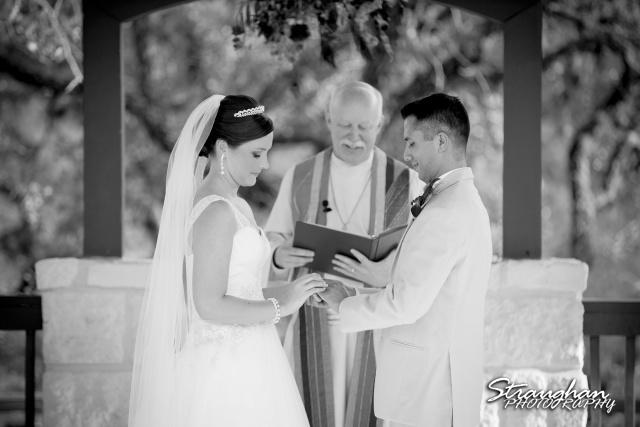Kristan's wedding Bella Springs Boerne his ring