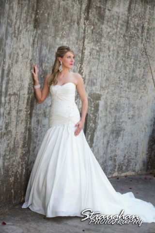 Kelli bridal San Antonio Botanical Gardens by wall