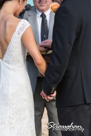 1850 Settlement wedding holding hands with Lauren