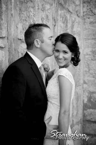 1850 Settlement wedding Lauren and Brian black and white kiss