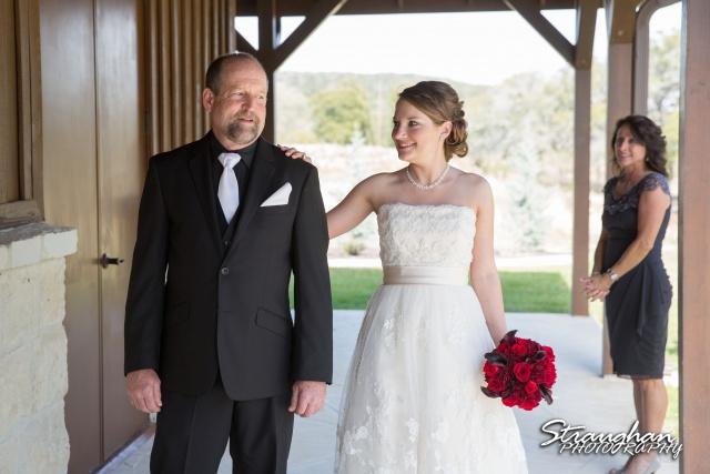 Logan's wedding Bella Springs Boerne TX dads first look