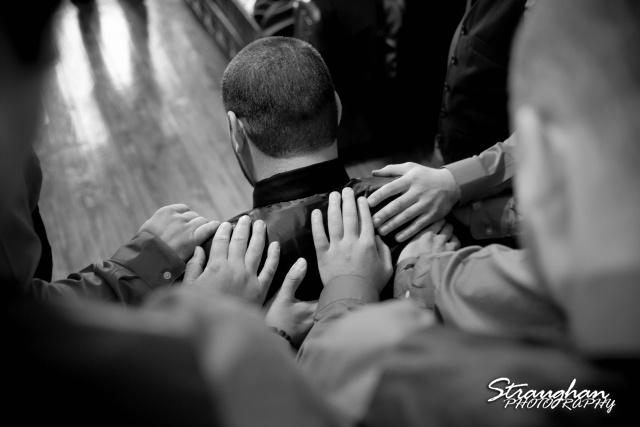 Logan's wedding Bella Springs Boerne TX guys pray