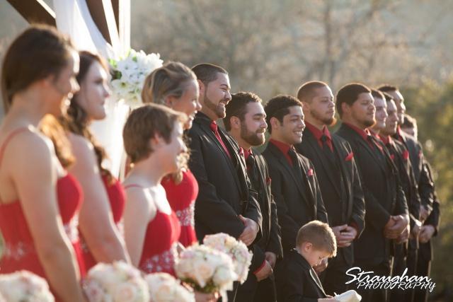 Logan's wedding Bella Springs Boerne TX groom wainting at aisle
