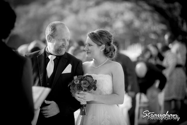Logan's wedding Bella Springs Boerne TX bride and dad asile smiling