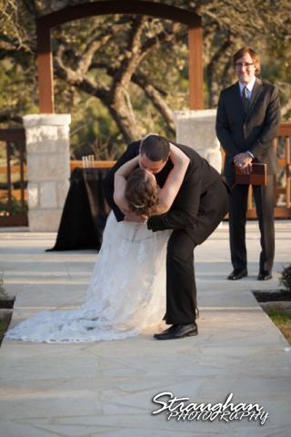 Logan's wedding Bella Springs Boerne TX the kiss